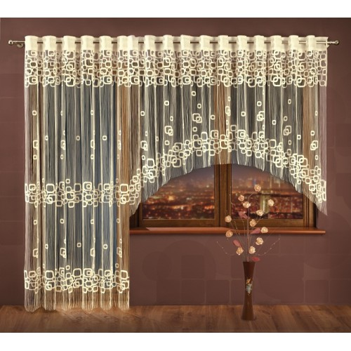 Makarony Frędzle Firany Rubi 270cm X 160cm