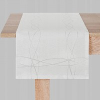 Obrus bieżnik nakładka 60x120cm KINGA biały srebrny