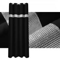 Zasłona gotowa maowa CYRKONIE 145x250cm PRZELOTKI - czarna