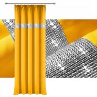 Zasłona gotowa matowa CYRKONIE 145x250cm ŻABKI TAŚMA - żółta