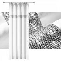 Zasłona gotowa matowa CYRKONIE 145x250cm ŻABKI TAŚMA - biała