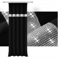 Zasłona gotowa matowa CYRKONIE 145x250cm ŻABKI TAŚMA - czarna